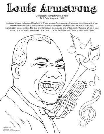 Doodles Ave Louis Armstrong Black History Month Printables Louis Armstrong Black History Month Activities