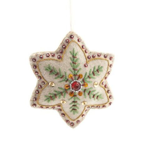 Saved for picture. Victoria & Albert Museum embroidered Snowflake Decoration with delightful detail on both sides. Snowflake Decorations, Handmade Christmas Decorations, Felt Decorations, Christmas Ornaments To Make, Christmas Sewing, Noel Christmas, Felt Ornaments, Christmas Projects, Felt Crafts