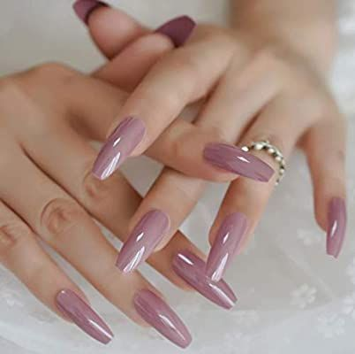 Amazon Com Beige Purple Long Coffin Press On Nails Long Ballerina False Nail Tips 20 Pcs Full Cover Acrylic Fake In 2020 Coffin Nails Designs Fake Nails Pink Nails