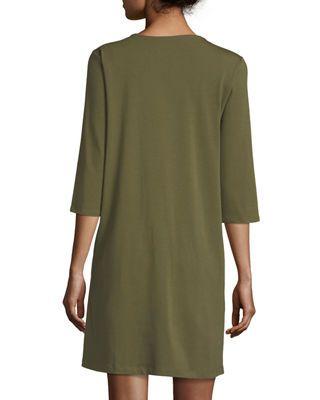 527200c87df75 3/4-Sleeve V-Neck Jersey Shift Dress Petite   Products   Dresses ...