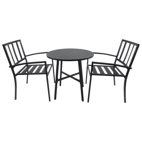 Salon de jardin bistrot 2 pers. + table ronde métal époxy ...