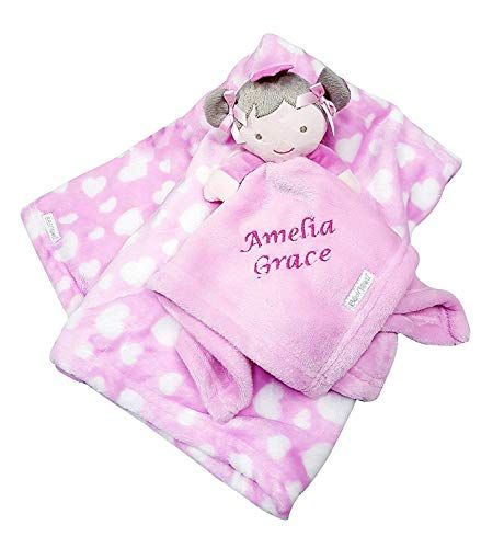 Personalised Embroidered Baby Comforter Pink Dolly Blanket Gift