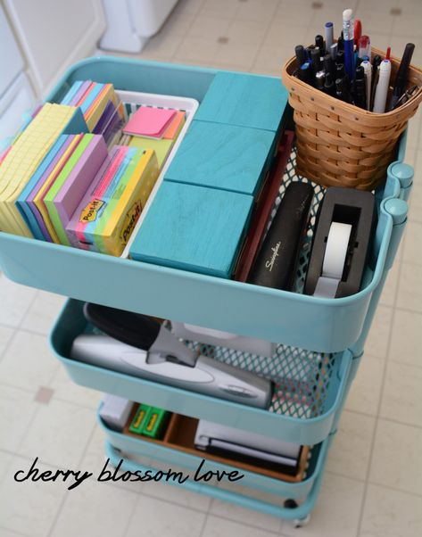 kenamp: Office rolling cart Heavy Duty My Crafting Attic Quick Tip Tuesday Office Rolling Cart My Crafting Attic Teacher Rolling Cart, Teacher Cart, Teacher Office, Teacher Stuff, Office Organization At Work, Organization Station, Classroom Organisation, Organization Hacks, Classroom Decor