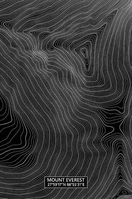 Mount Everest Colored Contour Map in Black