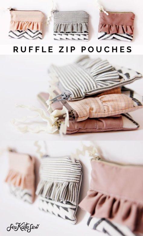 Ruffle Zip Pouches with Decorative Stitching diy zipper pouch free sewing tutorials zipper pouch tutorial diy sewing projects See Kate Sew - # Diy Sewing Projects, Sewing Projects For Beginners, Sewing Hacks, Sewing Tutorials, Sewing Tips, Sewing Crafts, Tutorial Sewing, Bee Crafts, Easy Crafts