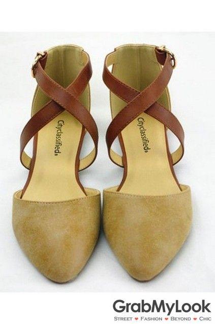 22fa240865de Point Head Vintage Khaki Leather Cross Ankle Straps Flats Sandals ...
