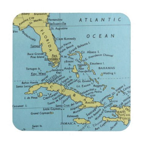 Map Of Florida And Cuba Vintage map of Florida and Cuba coaster | Zazzle.in 2020 | Map