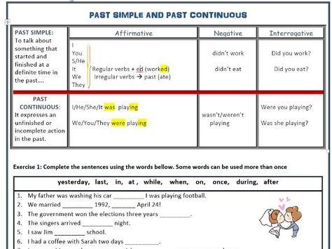 Past Continuous vs Past Simple (Affirmative, Interrogative, Negative) Grammar Review - practice