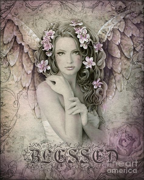 Primrose Victorian inspired angel art 17 inch x 22 inch giclee print from original angel drawing by Jessica Galbreth, via Etsy.