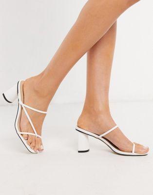 Raid Brioni Super Skinny Strap Block Heel Sandals In White In 2020 Block Heels Sandal Heels Sandals Heels
