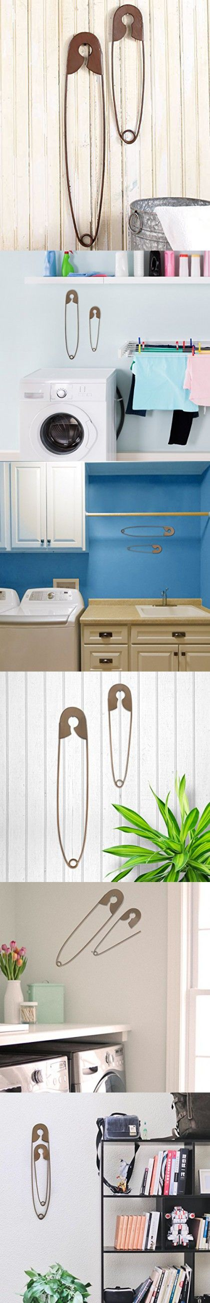 Set of 2 Large Hanging Safety Pins Rustic Color Laundry Room Wall Home Decoratio