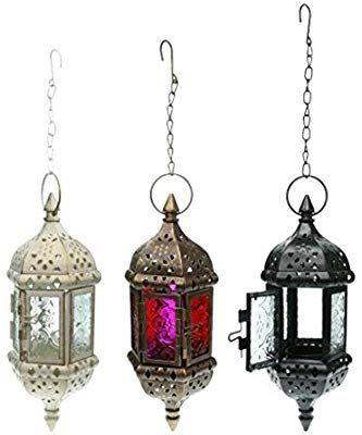 Amazon Com Homyl Set 3pcs Glass Hanging Moroccan Candle Lanterns Hurricane Candle Lamp Tea Light Candl Candle Lanterns Hurricane Candle Lamps Moroccan Candles