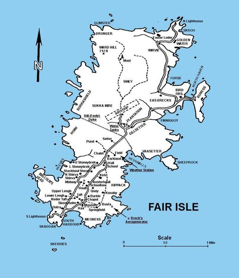 Shetland Islands, Fair Isle map. stayed there for two weeks ...