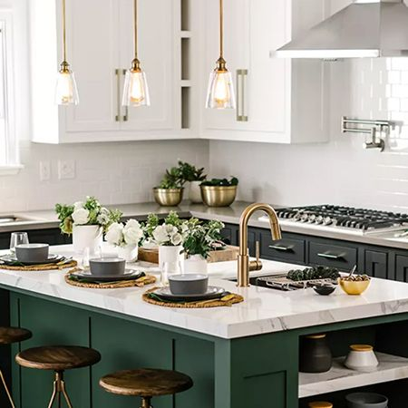 Modern Industrial Style Kitchen With Gold And Green Accents Green Kitchen Designs Interior Design Kitchen Small