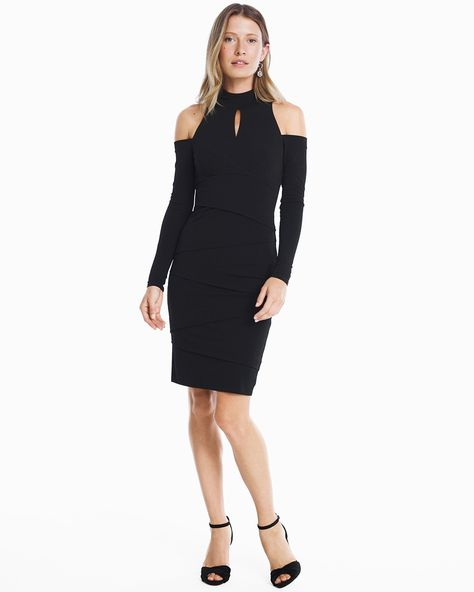 eb7fabceb3d Women s Long Sleeve Cold Shoulder Black Instantly Slimming Sheath Dress by  WHBM
