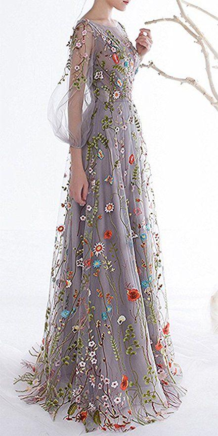 Honeydress Women S Floral Embroidered Long Sleeve Maxi Dress Prom Gown Amazon Ca Clothing Accessories Abendkleid Mode Ausgefallene Kleider