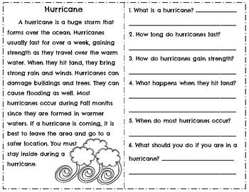 Weather Reading Comprehension Passages & Questions ~ Tornado ...