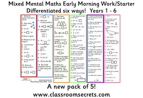 Mental Maths Mental Maths Starters Pinterest Mental Maths And Math