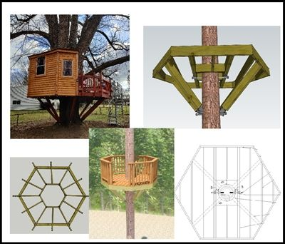 10 Hexagon Treehouse Plan Standard Treehouse Plans Attachment Hardware In 2020 Tree House Plans Tree House House Plants Indoor