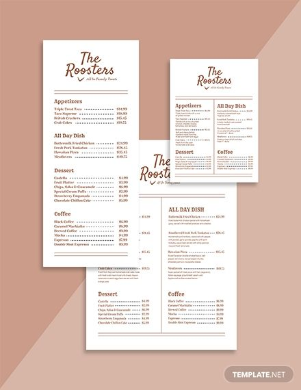 Simple Menu Card Template Pdf Word Psd Apple Pages Google Docs Illustrator Publisher Menu Card Template Menu Card Design Menu Design Template