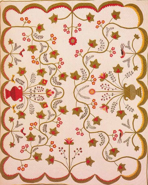 Applique Quilt, 1850. Made by Mary Jane Kirckpatrick Harlan. Rush Co, Indiana.