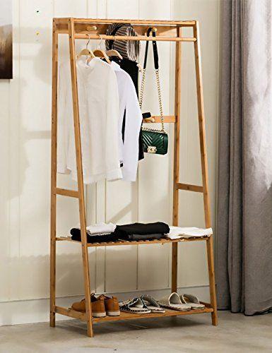 Ufine Garment Rack Bamboo Wood Entryway Coat Rack 3 Tiers Shoe