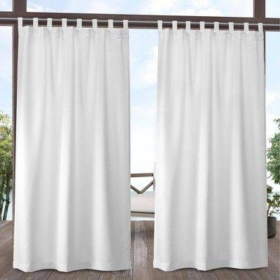 Set Of 2 Indoor Outdoor Solid Cabana Tab Top Window Curtain Panel Exclusive Home In 2020 Indoor Outdoor Curtains White Paneling Outdoor Curtains