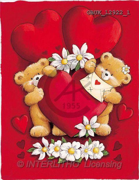 Stephen, VALENTINE, paintings, bears, hearts, letter(GBUK12922/1, V ) illustrations, pinturas