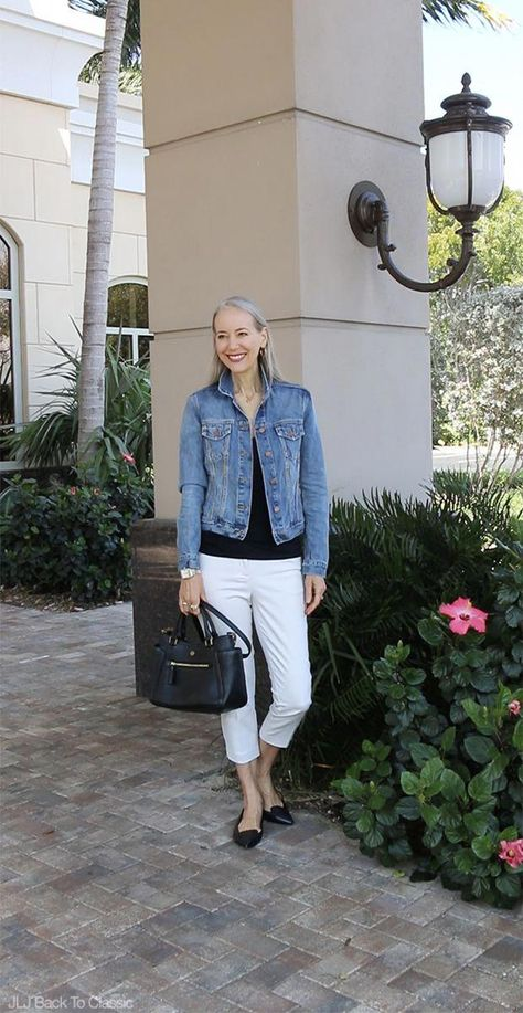 Classic-Fashion-Over-40-Gap-1969-Denim-Jacket-Tory-Burch-Frances-Satchel #womensfashionover40wedding