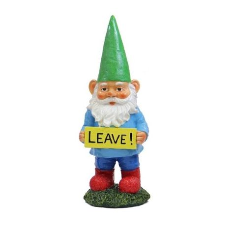 Exhart 14 Multi-color Garden Gnome with Attitude Statue LEAVE Novelty