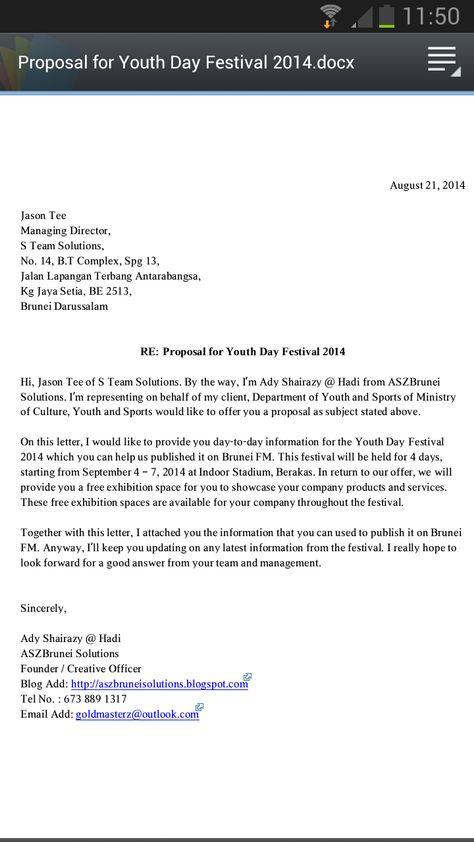 Script Writing Marketing Communication \/ Copywriting - Portfolio - a proposal letter
