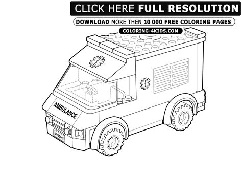 ambulance lego farvelgcolouring pinterest ambulance - Ambulance Pictures To Colour