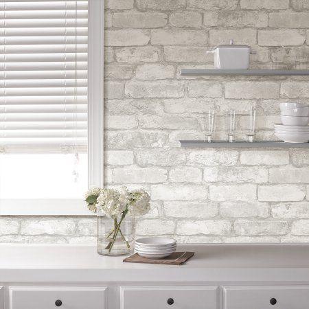 Nuwallpaper Grey And White Brick Peel Stick Wallpaper Walmart Com Brick Kitchen Brick Wallpaper Kitchen White Brick Backsplash