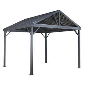 Sojag Sanibel I Light Grey Metal Screened Gazebo 117 32 W X 109 78 H X 117 32 D Aluminum Gazebo Gazebo Screened Gazebo