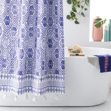 Batik Star Shower Curtain By Drew Barrymore Flower Home Walmart