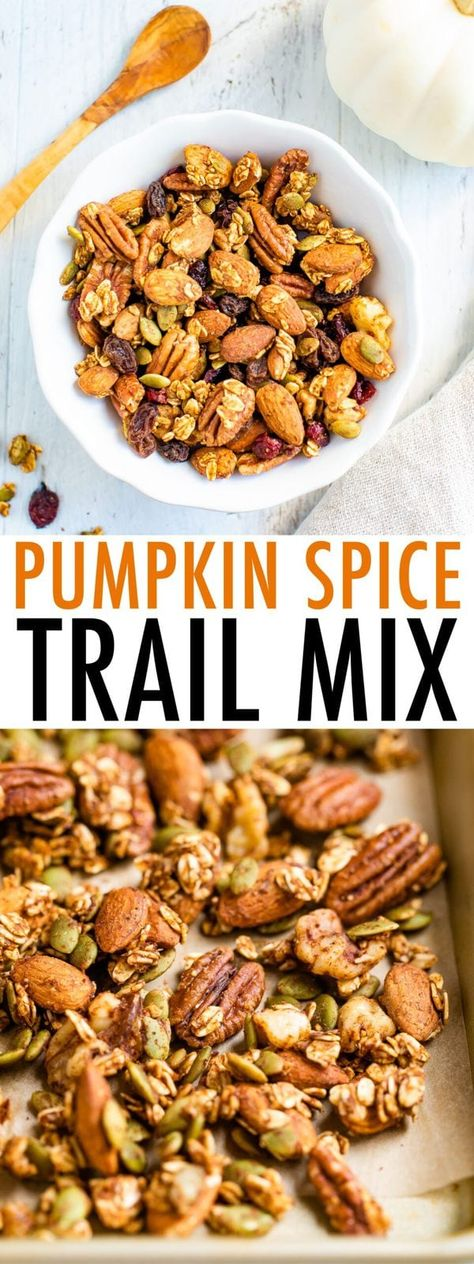 This pumpkin spice trail mix is loaded with a variety of nuts, dried fruit and a pumpkin spice flavor. Snack by the handful or use as a topping for yogurt.#trailmix #nuts #pumpkinspice #fallrecipe #pumpkin #eatingbirdfood #healthysnack