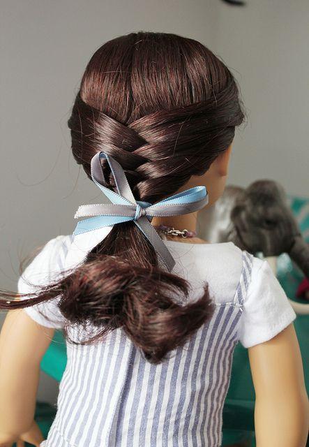 A half updo by jennyjjeon - American Girl Dolls Ag Doll Hairstyles, American Girl Hairstyles, Braided Hairstyles, Kids Hairstyle, American Girl Crafts, American Girl Clothes, Fix Doll Hair, Ag Hair Products, Half Updo