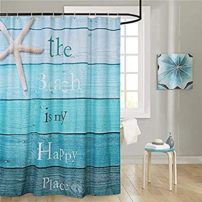 Uphome Beach Fabric Shower Curtain Gradient Turquoise Wood Grain And Starfish On The Coa Beach Shower Curtains Nautical Shower Curtains Fabric Shower Curtains