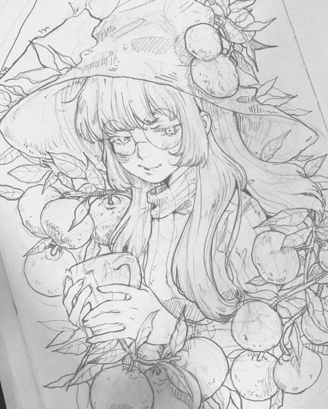 Meeda MohsinさんはInstagramを利用しています:「Posting a sketch to wrap up the year with and wish you all a happy new year. 🎆 #sketch #witch #botany #tangerine #pencil #hello2018」