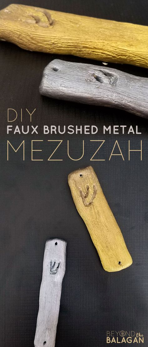 Make A Beautiful Diy Clay Mezuzah Craft For Adults With A Stunning Brushed Metal Finish That Makes It Looks Like Magnifice In 2020 Mezuzah Craft Jewish Crafts Diy Clay