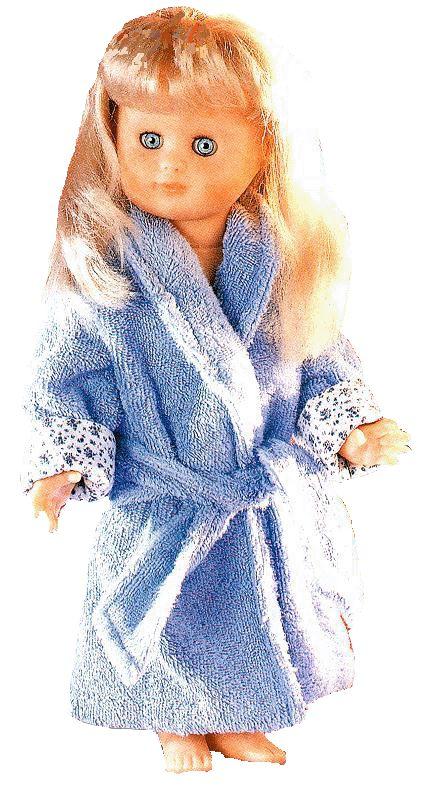 "In French.  Free pattern pieces and instructions for 15"" doll bathrobe.  Peignoir pour poupée de 40 cm"