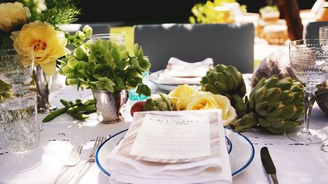 green and yellow artichoke tablescape for spring