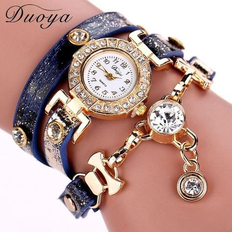e3dee6145a2 Duoya Women Watches Brand Gemstone Luxury Bracelet Watches Women Dress  Fashion Long Chain Casual Wristwatch