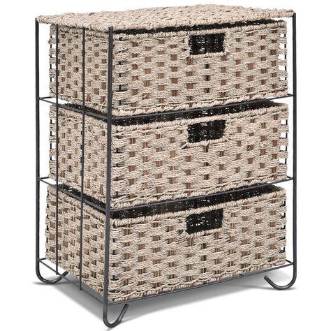 3 Rattan Wicker Baskets Tower Rack