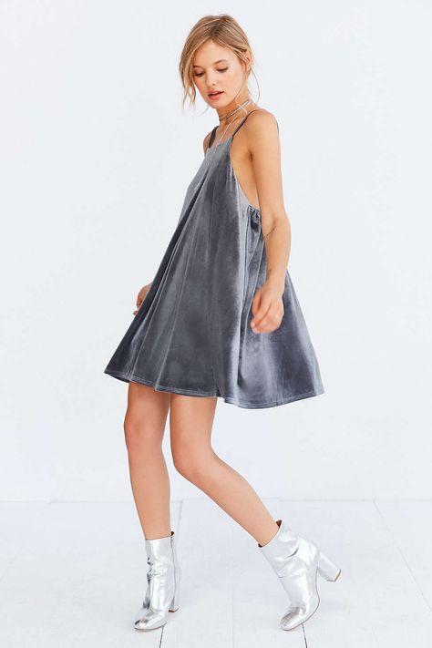 Kimchi Blue Velvet Strappy-Back Mini Frock Dress - Urban Outfitters