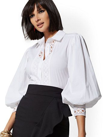 LADIES SHORT SLEEVE STOCK SHIRT Flattering Stretch Quick Dry Cotton Bib Collar