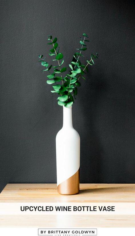 Upcycled Wine Bottle Vase: Empty Wine Bottle Decoration Using Paint