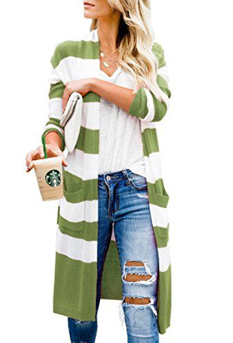 SySea Womens Striped Duster Cardigans Casual Long Sleeve