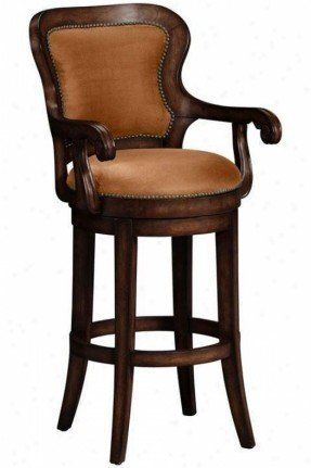 Upholstered Arm Swivel Bar Stool, Upholstered Swivel Bar Stools With Arms