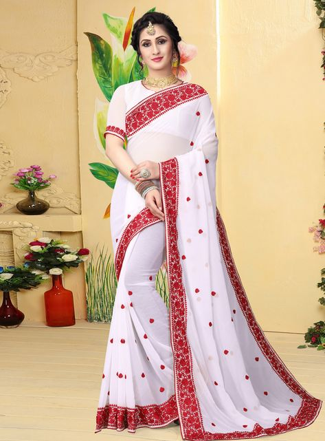 Buy Off White Georgette Saree With Blouse 144026 with blouse online at lowest price from vast collection of sarees at Indianclothstore.com.